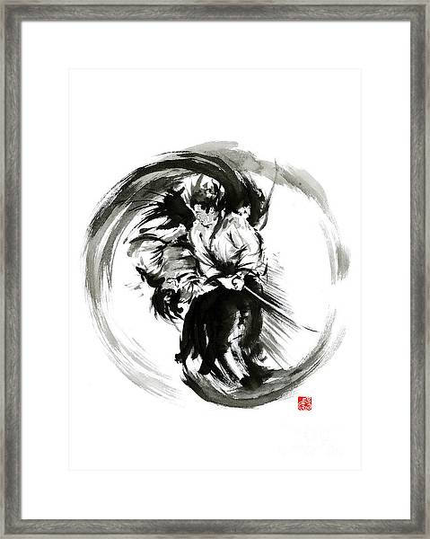 Aikido Techniques Martial Arts Sumi-e Black White Round Circle Design Yin Yang Ink Painting Watercol Framed Print