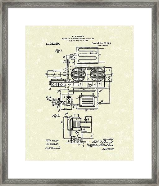 Air Conditioner 1916 Patent Art Framed Print