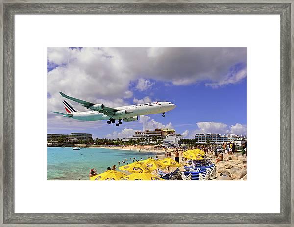 Air France Landing At St Maarten Framed Print