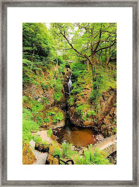 Aira Force Waterfall Ullswater Valley Lake District Cumbria England Uk In Beautiful Woodland Framed Print