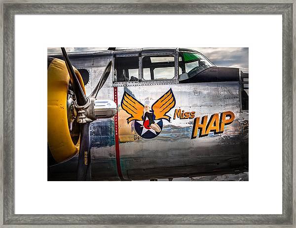 Aircraft Nose Art - Pinup Girl - Miss Hap Framed Print