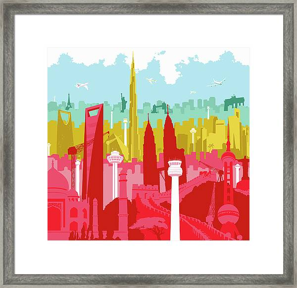 Airplanes Flying Over Colorful Montage Framed Print