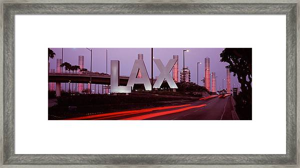 Airport At Dusk, Los Angeles Framed Print