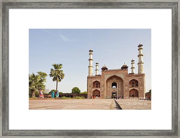 Akbar's Tomb In  India Framed Print