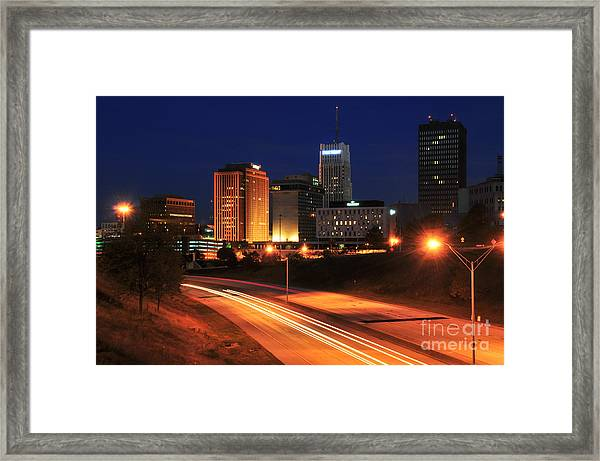 D1u-140 Akron Ohio Night Skyline Photo Framed Print