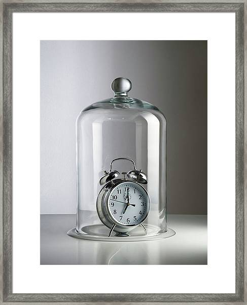 Alarm Clock Inside A Bell Jar Framed Print by Science Photo Library