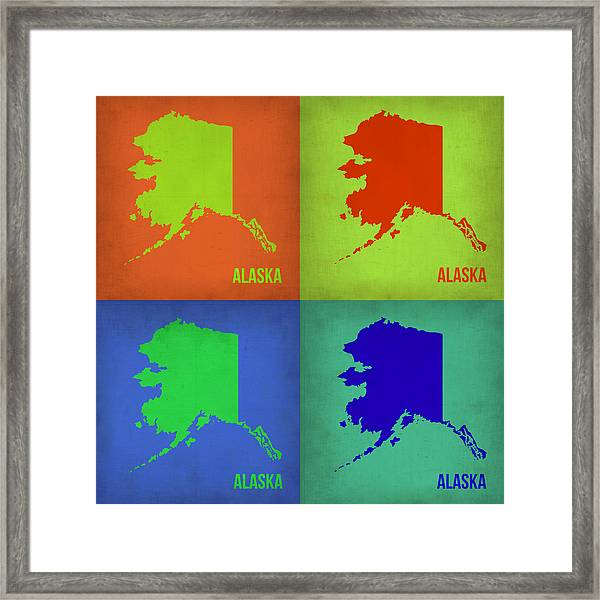 Alaska Pop Art Map 1 Framed Print