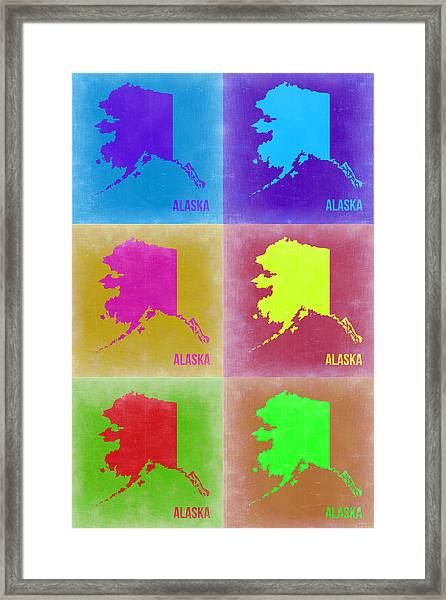 Alaska Pop Art Map 2 Framed Print