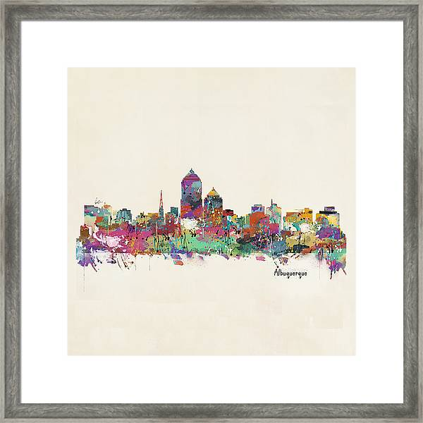 Albquerque New Mexico Skyline Pillow Framed Print