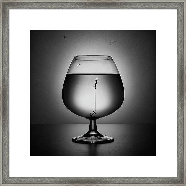 Alcoholism. The Drowning Framed Print