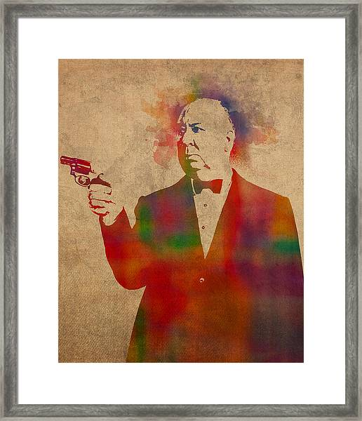 Alfred Hitchcock Watercolor Portrait On Worn Parchment Framed Print