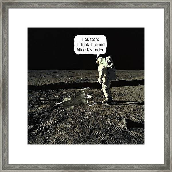 Framed Print featuring the photograph Alice Kramden On The Moon by David Dehner