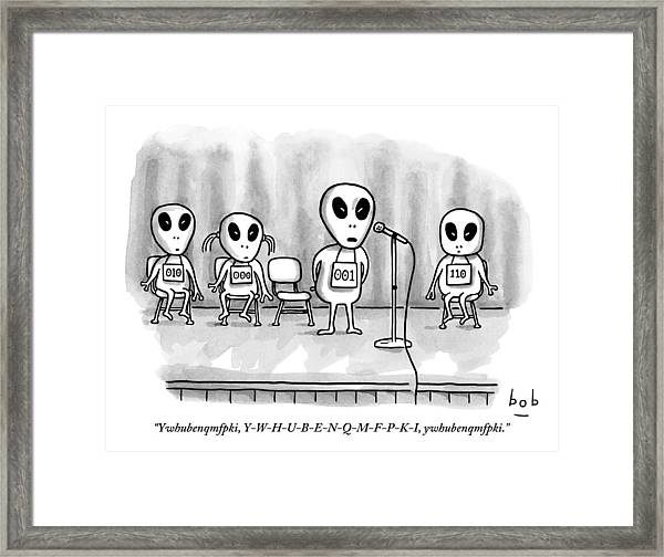 Aliens Participating In A Spelling Bee Framed Print