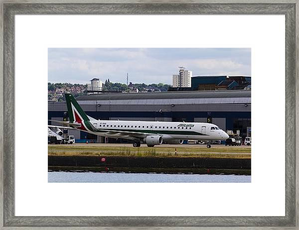 Alitalia  Embraer Erj-190 London City Airport Framed Print