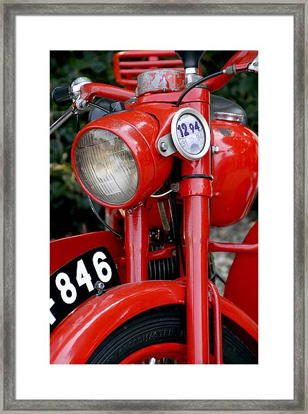 Framed Print featuring the photograph All Original English Motorcycle by Bob Slitzan