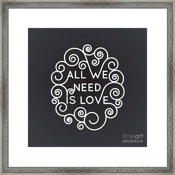 All We Need Is Love - Vector Geometric Framed Print