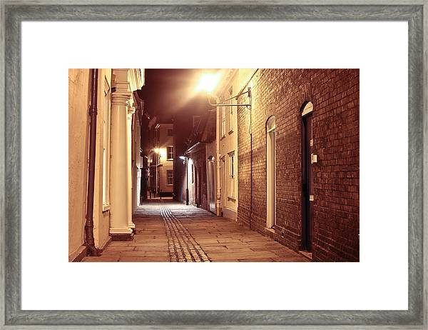 Alley At Night Framed Print