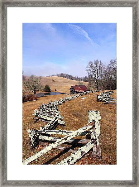 Along The Locust Rails Framed Print