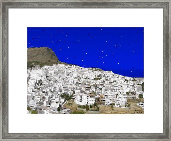 Alora Malaga Spain At Twilight Framed Print