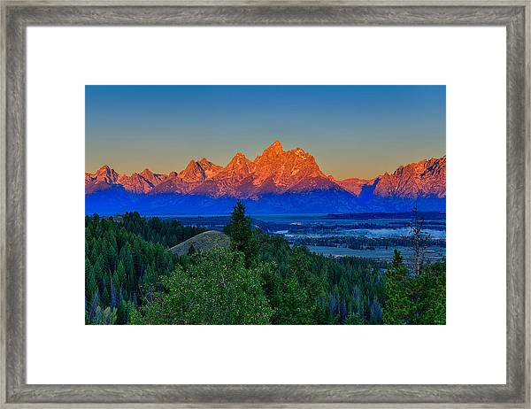 Alpenglow Across The Valley Framed Print