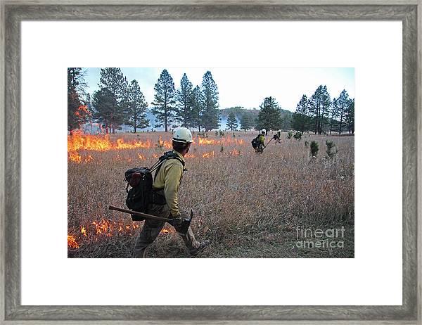 Alpine Hotshots Ignite Norbeck Prescribed Fire Framed Print