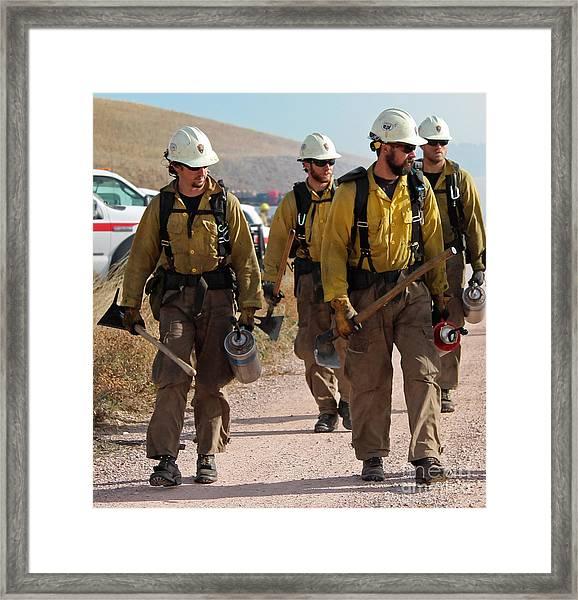 Alpine Hotshots Prepare To Ignite Cold Brook Prescribed Fire Framed Print