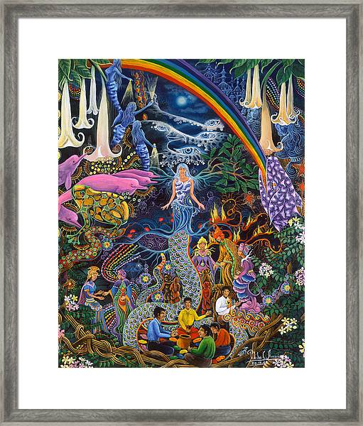 Framed Print featuring the painting Alto Cielo by Pablo Amaringo