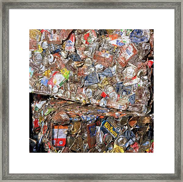 Aluminium Cans For Recycling Framed Print by Alex Bartel/science Photo Library