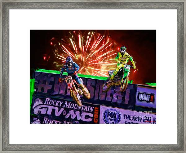 Ama 450sx Supercross Trey Canard Leads Chad Reed Framed Print