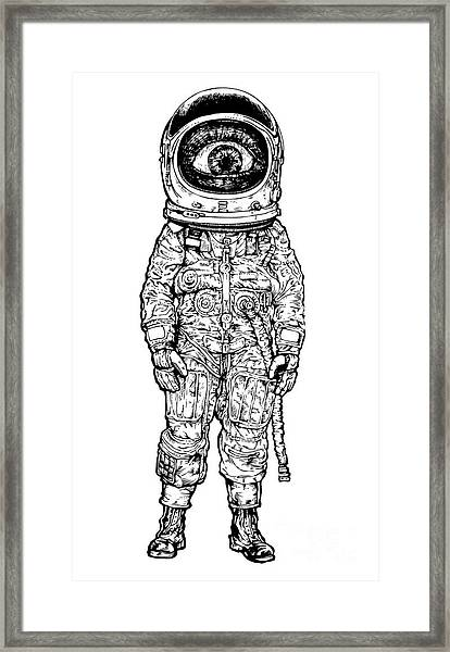 Amazement Astronaut. Vector Illustration Framed Print