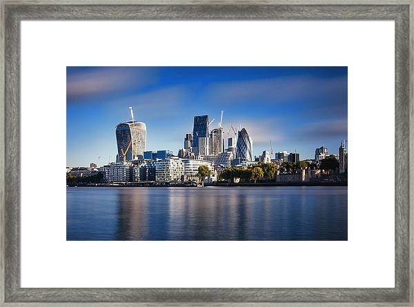 Amazing London Skyline With Tower Bridge During Sunrise Framed Print by Easyturn