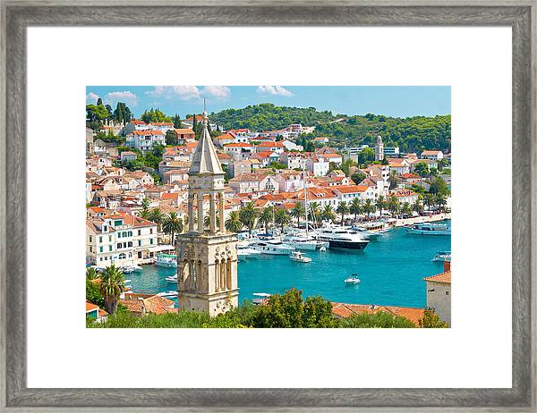 Amazing Town Of Hvar Harbor Framed Print