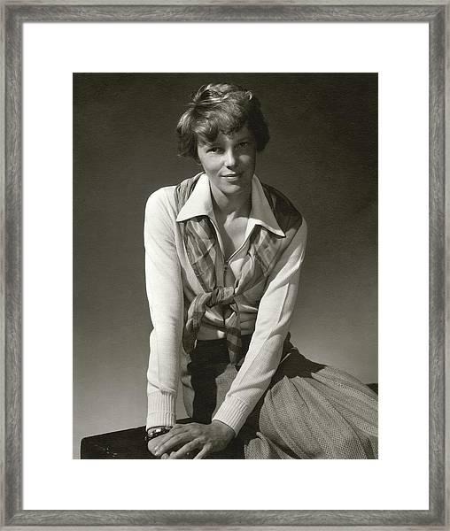 Amelia Earhart Wearing A Scarf Framed Print