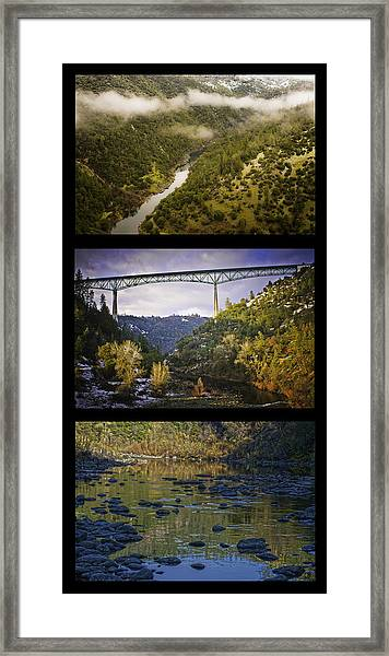 American River Triptych Framed Print