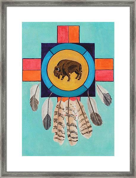 American Bison Dreamcatcher Framed Print