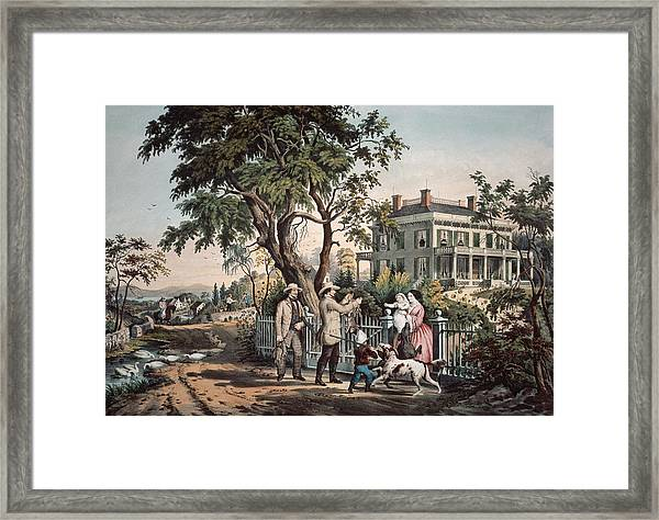 American Country Life  October Afternoon, 1855  Framed Print