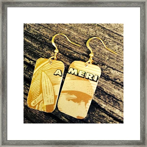 American Express Ooak Earrings Designed Framed Print