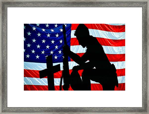 A Time To Remember American Flag At Rest Framed Print