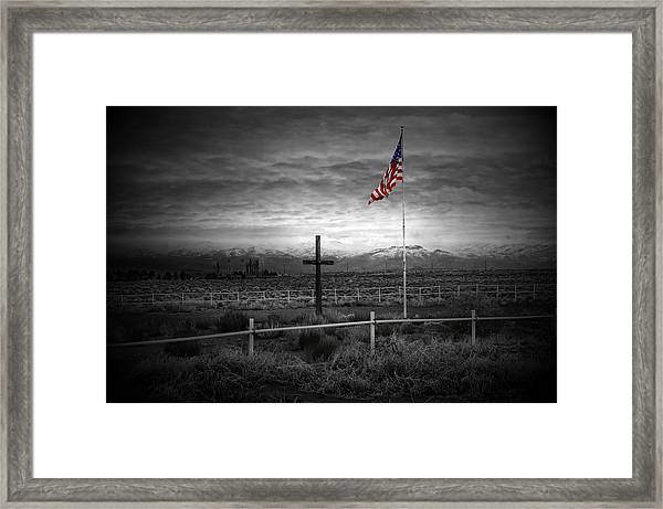 American Flag With Cross Framed Print
