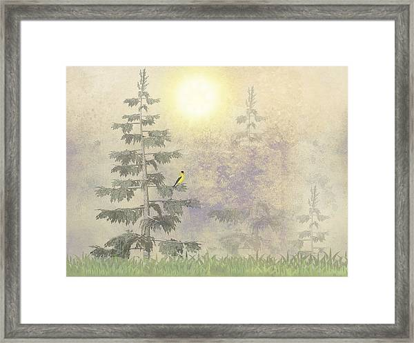 Framed Print featuring the digital art American Goldfinch Morning Mist  by David Dehner