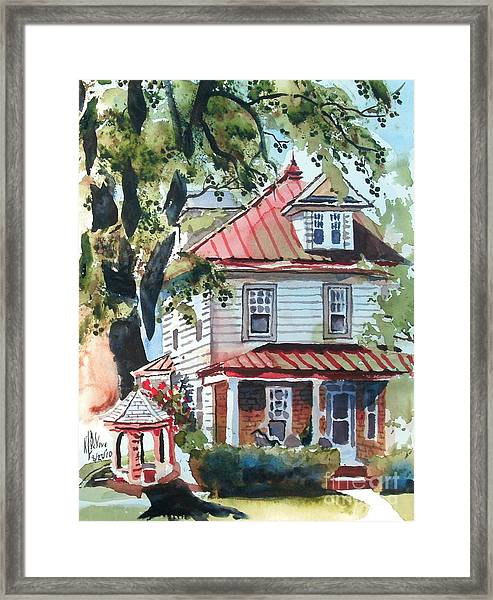 American Home With Children's Gazebo Framed Print