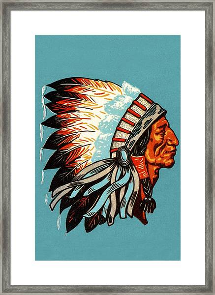 American Indian Chief Profile Framed Print