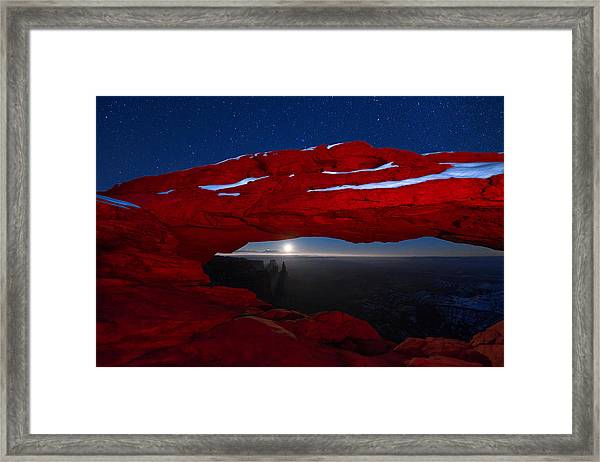 Framed Print featuring the photograph American Moonrise by Dustin  LeFevre