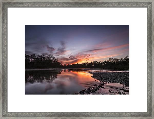 American River Sunset Framed Print