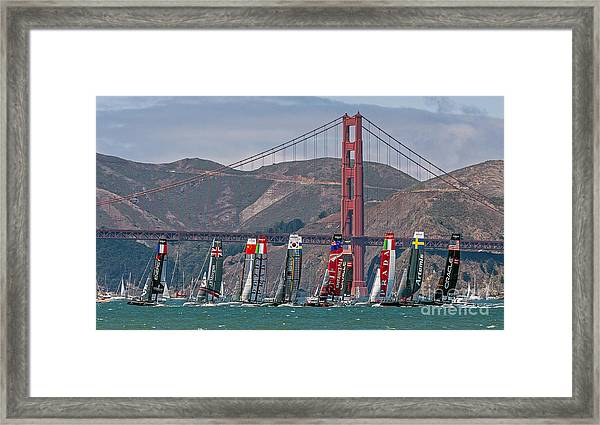 Americas Cup Catamarans At The Golden Gate Framed Print