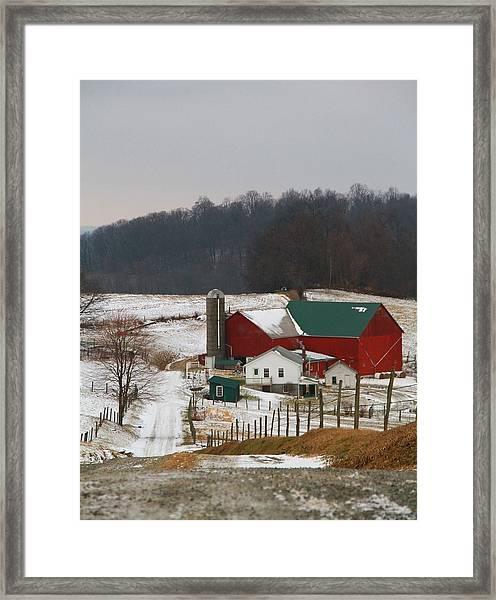 Amish Barn In Winter Framed Print