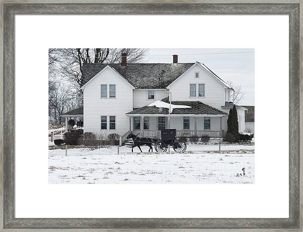 Amish Buggy And Amish House Framed Print