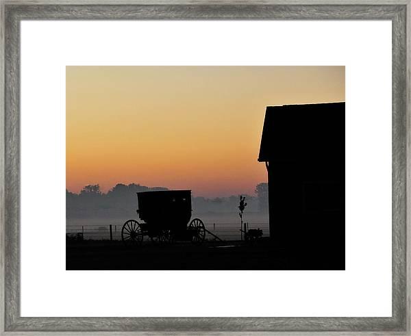 Amish Buggy Before Dawn Framed Print