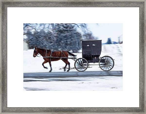Amish Buggy In Winter Framed Print