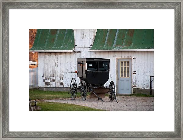 Amish Buggy White Barn Framed Print